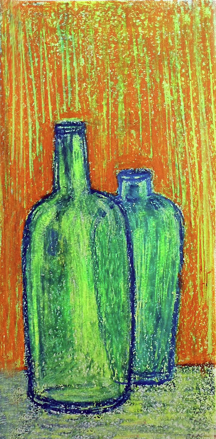 Two green bottles by Asha Sudhaker Shenoy