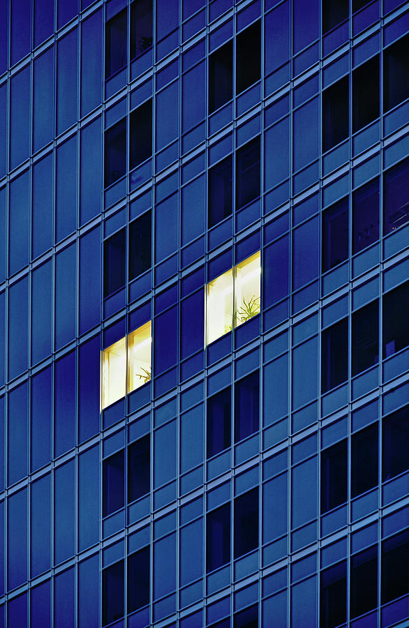 Two Lighted Windows In Modern Office Photograph by Renaud Visage