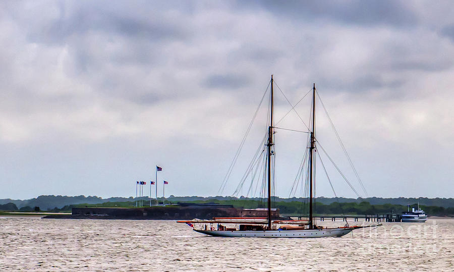 Two Masted Schooner - Fort Sumter Photograph