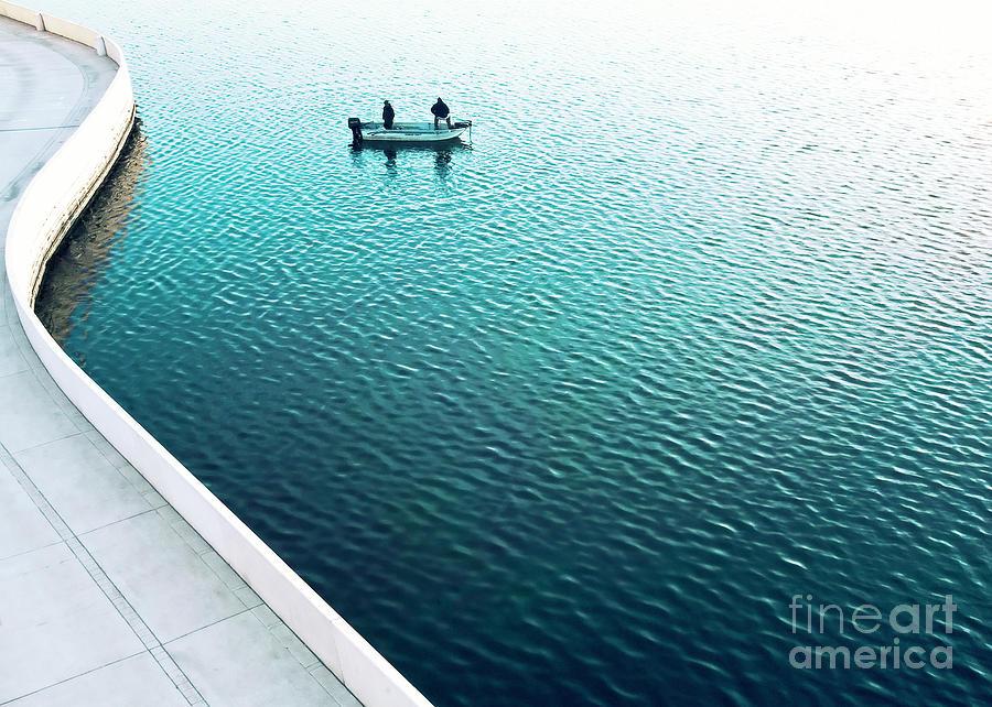 Concrete Photograph - Two Men Fishing On A Lake by Todd Klassy
