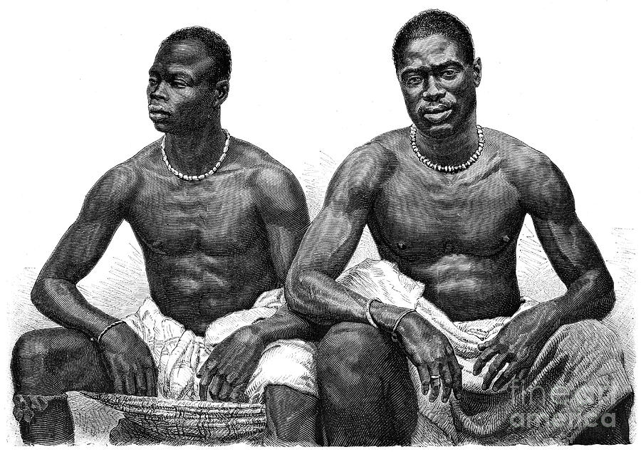 Two Men From Assinie, Guinea Drawing by Print Collector
