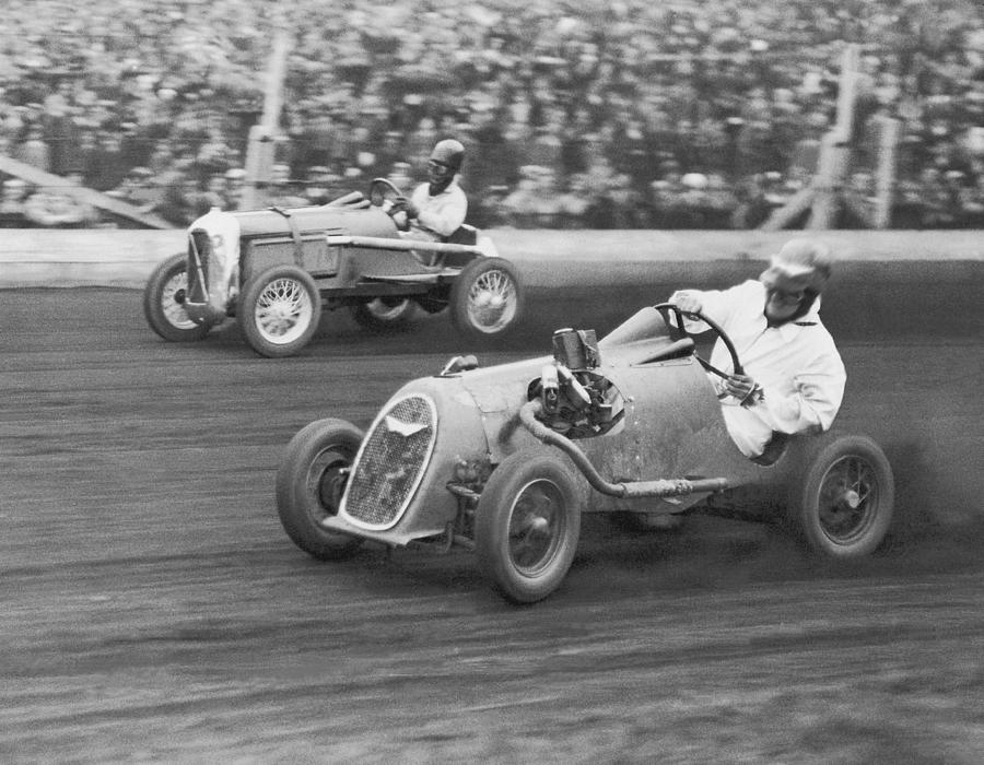 Two Men Racing Midget Cars B&w Photograph by Fpg