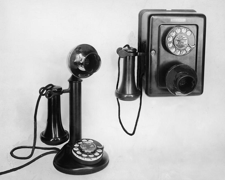 Two Old Fashioned Telephones By Authenticated News