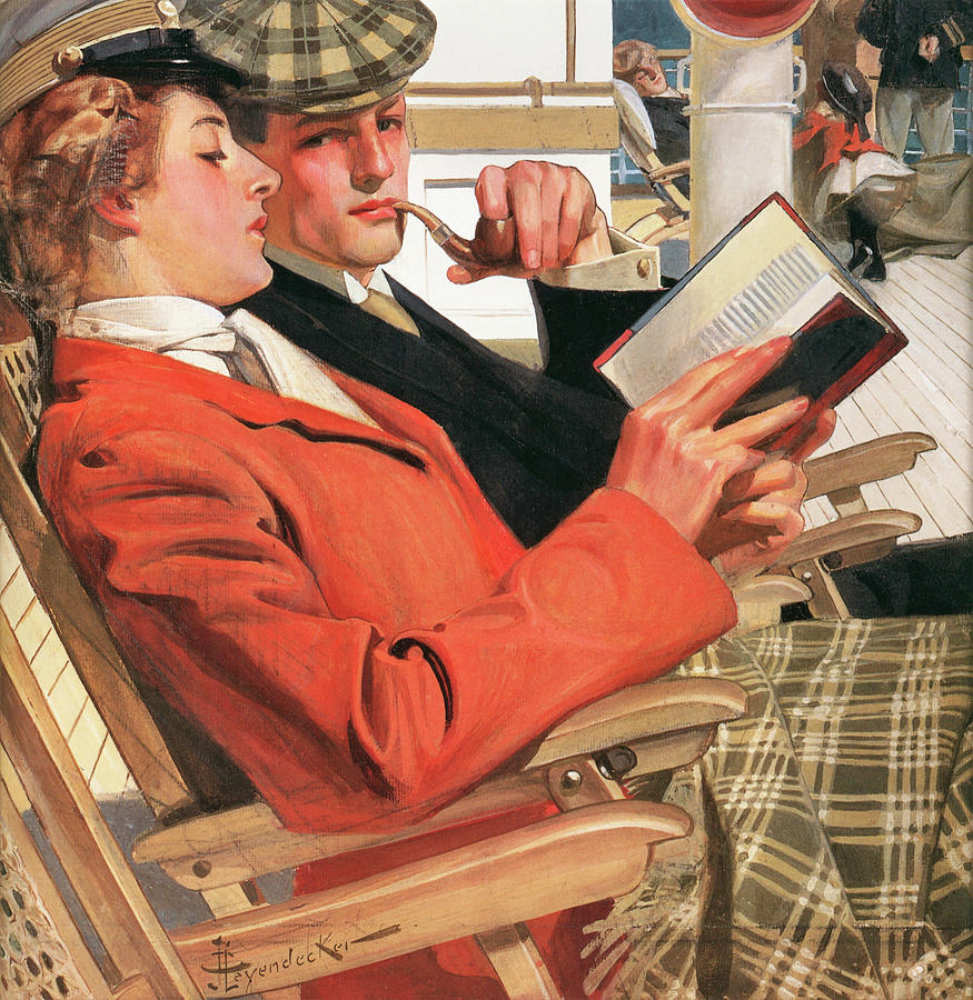 Joseph Christian Leyendecker Painting - Two On The Deck Chair - Digital Remastered Edition by Joseph Christian Leyendecker