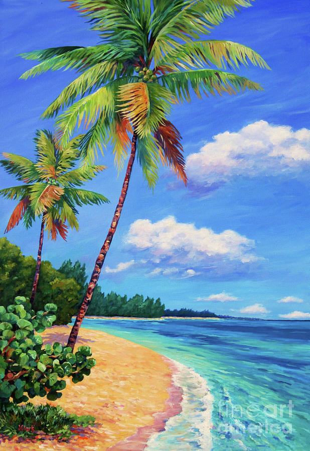 Cayman Painting - Two Palms In Paradise by John Clark