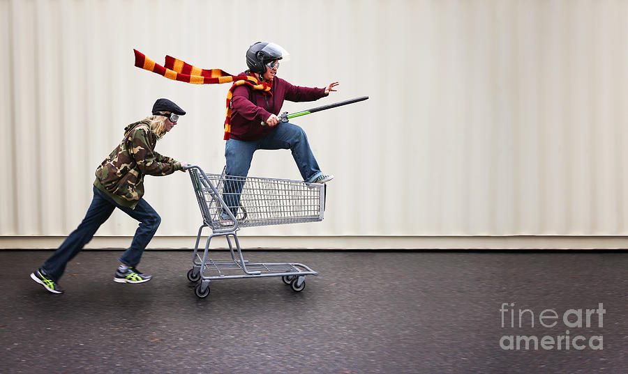 Play Photograph - Two People Dressed Up As Super Heroes by Annette Shaff