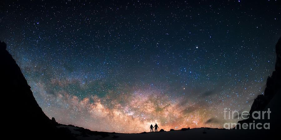 Atmosphere Photograph - Two People Standing Together Holding by Anton Jankovoy