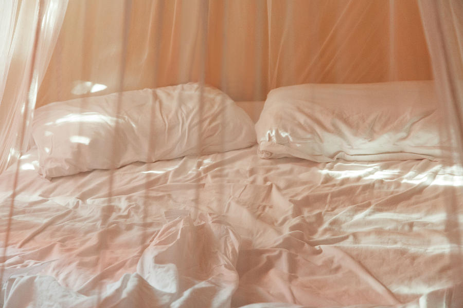 Two Pillows And Empty Bed With Netting Photograph by Sasha Weleber