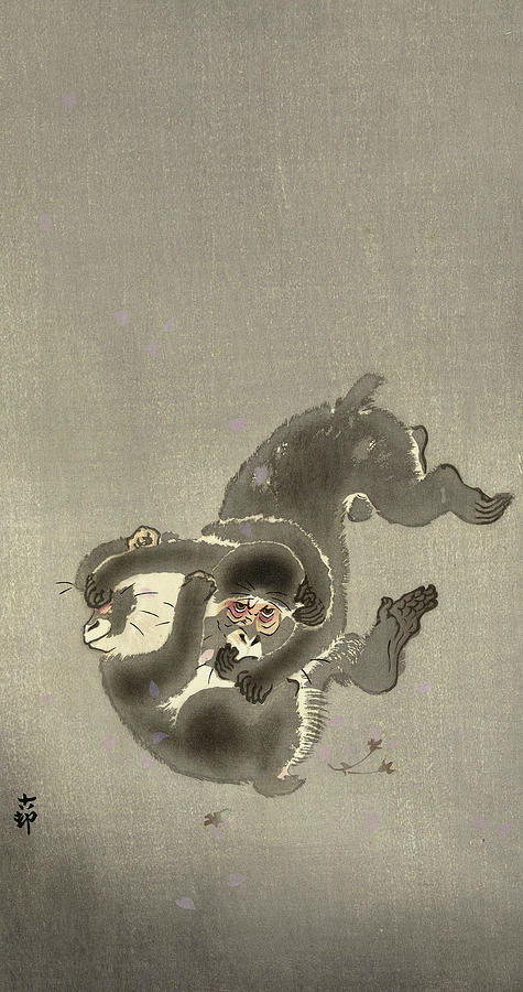 Two Monkeys Painting - Two Playing Monkeys, 1930 by Ohara Koson