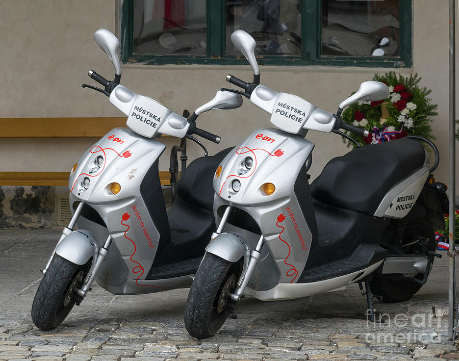 Two Police Scooters by Les Palenik