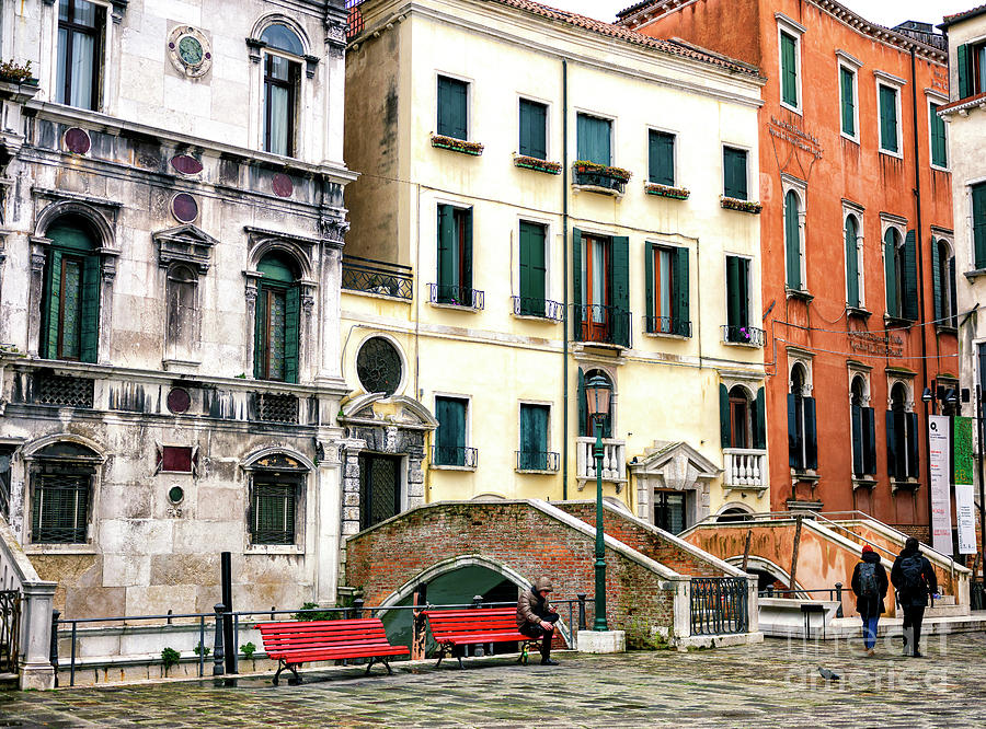Two Red Benches in Venice by John Rizzuto