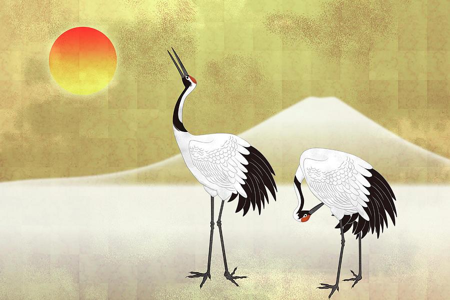 Two Red-crowned Crane Against Mt. Fuji Digital Art by Imagewerks