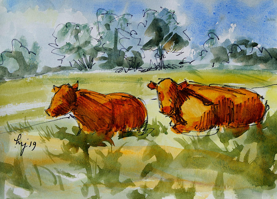 two red poll cows lying down watercolour painting by Mike Jory
