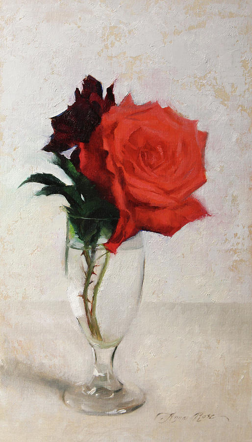 Roses Painting - Two Red Roses by Anna Rose Bain