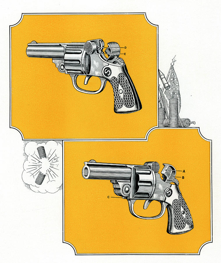 Two Revolver Handguns Digital Art by Graphicaartis