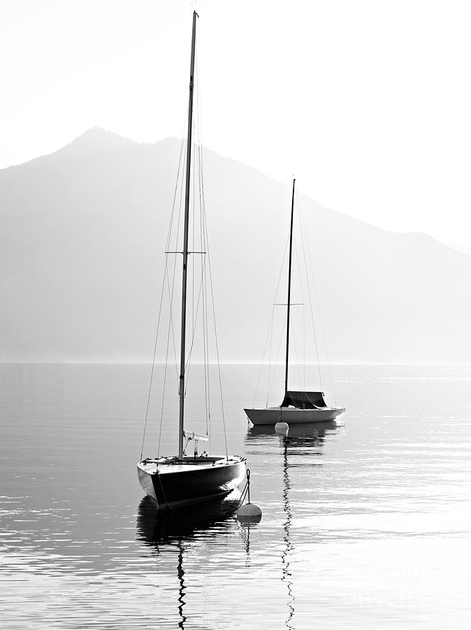 Sailboat Photograph - Two Sail Boats In Early Morning On The by Kletr