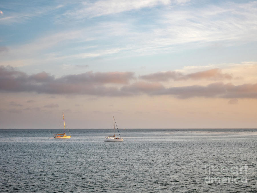 California Photograph - Two Sail Boats In Ocean Sea Facing The Sunset During The Golden  by PorqueNo Studios