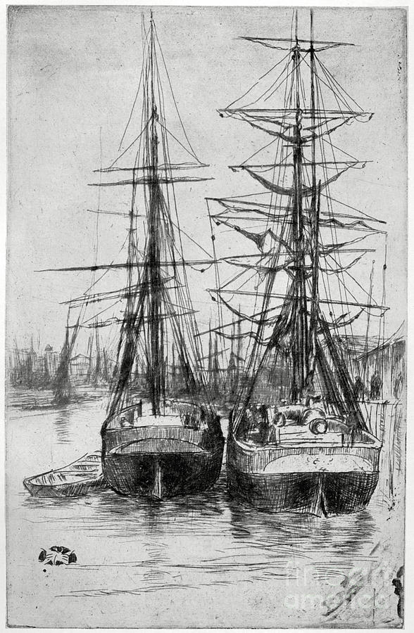 Two Ships, 19th Century 1904.artist Drawing by Print Collector