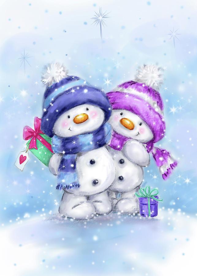 Two Snowmen 2 Mixed Media by Makiko