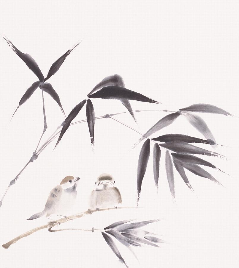 Two Sparrows Perching On Branch Of Digital Art by Daj