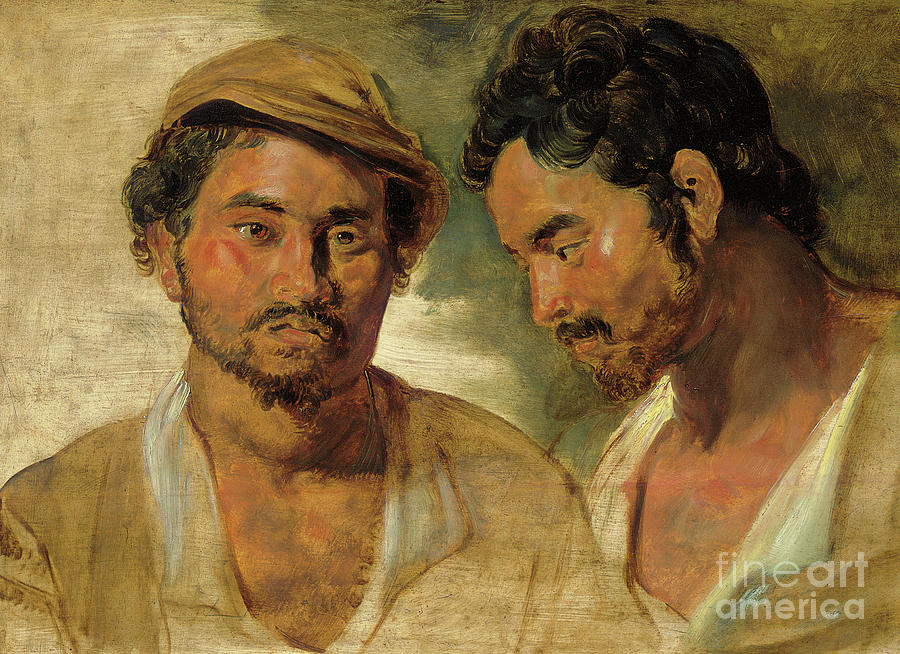 Head And Shoulders Painting - Two Studies Of A Man, Head And Shoulders by Peter Paul Rubens