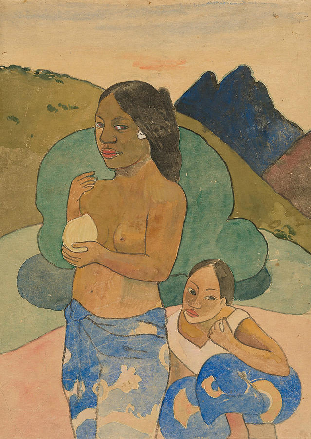 Two Tahitian Women in a Landscape by Paul Gauguin