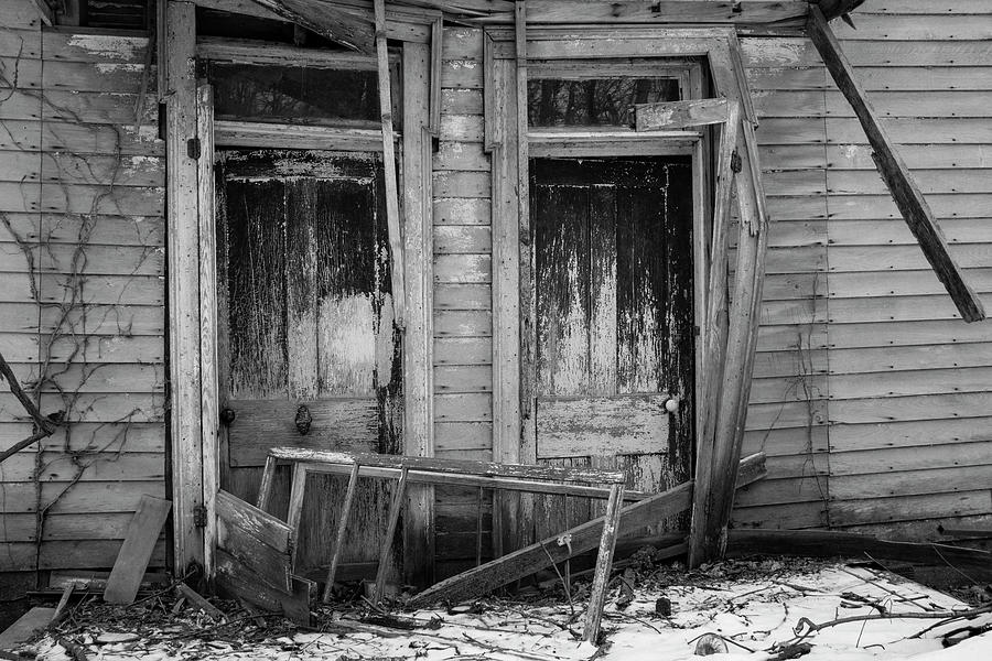 Two Weathered Old Doors Bw Photograph