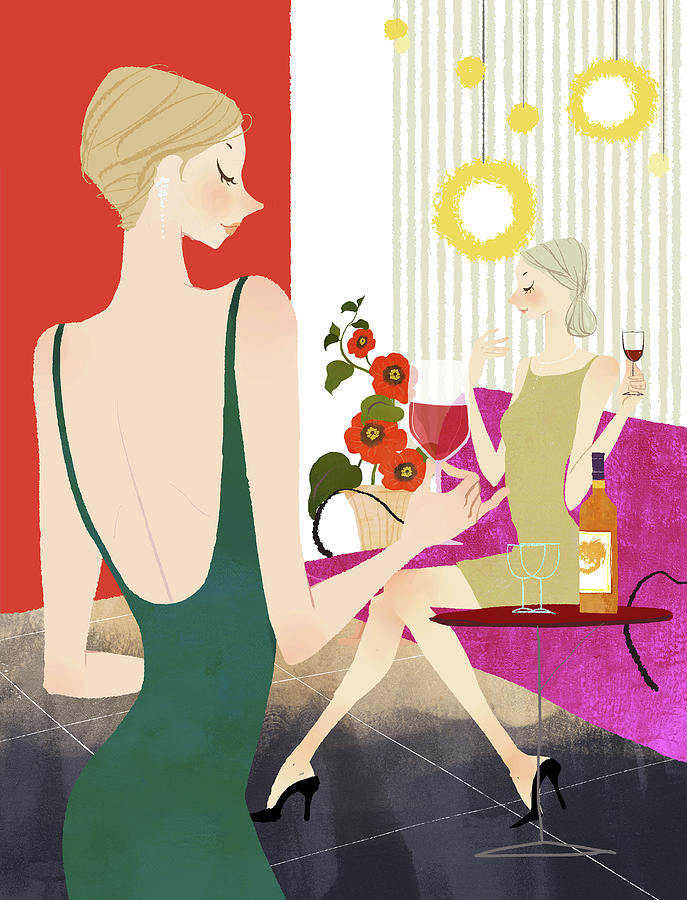 Two Woman Drinking Wine Digital Art by Eastnine Inc.