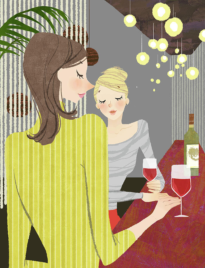 Two Woman With Wine At Bar Counter Digital Art by Eastnine Inc.