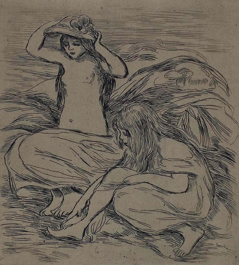 Two Women Bathing by Auguste Renoir
