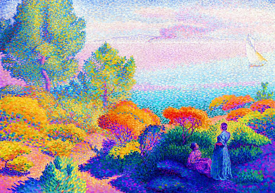 Two Women By The Shore Painting