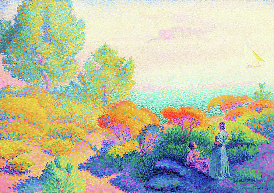 Mediterranean Painting - Two Women By The Shore, Mediterranean - Digital Remastered Edition by Henri Edmond Cross