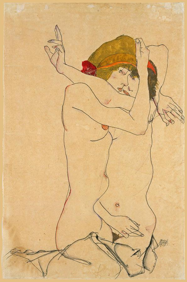 Two Women Embracing 2 by Egon Schiele