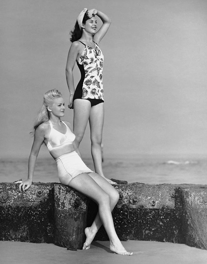Two Women In Bathing Suits Photograph by George Marks
