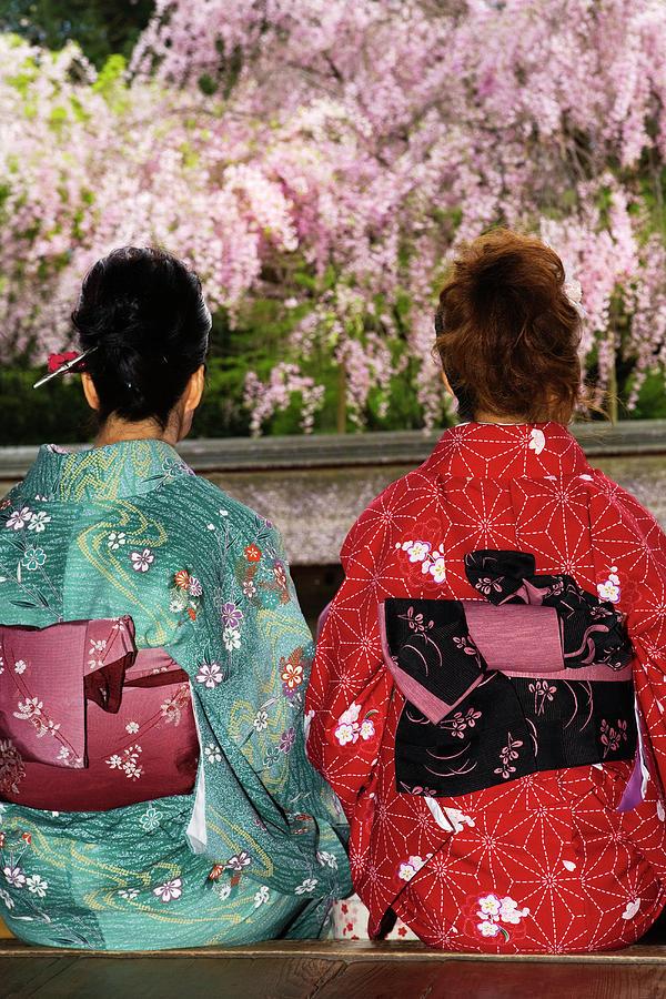 Two Women In Kimonos Rear View Photograph by John W Banagan