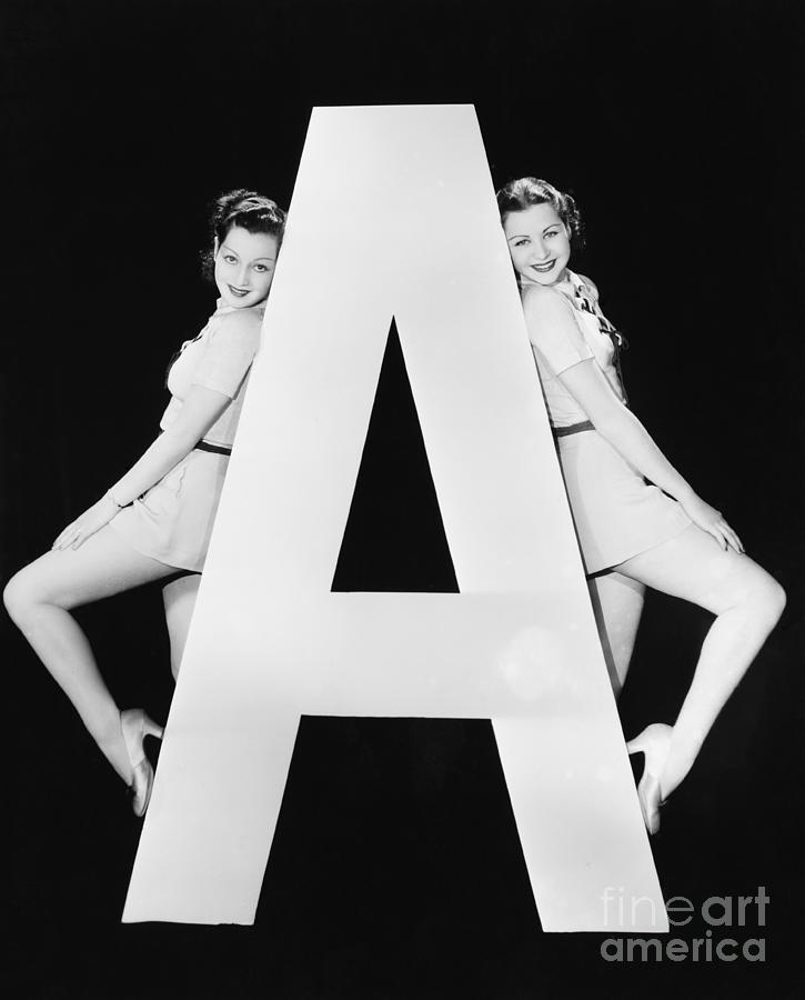 Big Photograph - Two Women With Huge Letter A by Everett Collection