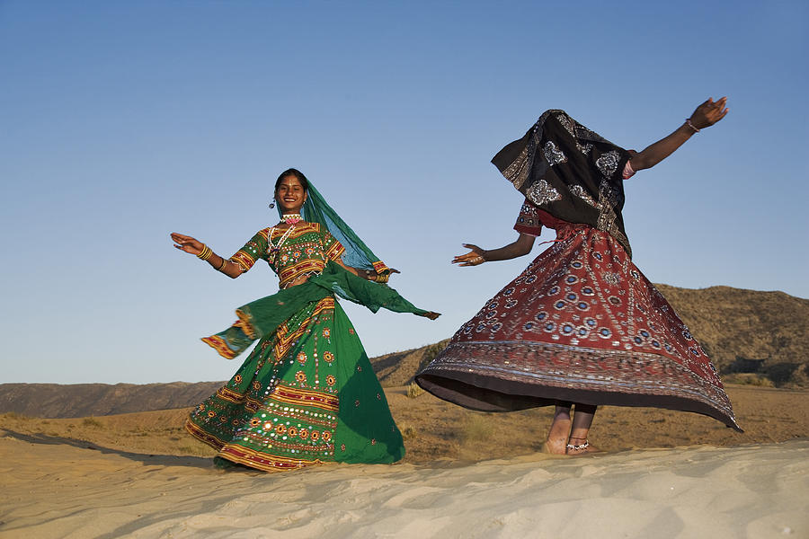 Two Young Indian Women In A Beautifully Photograph by Martin Harvey