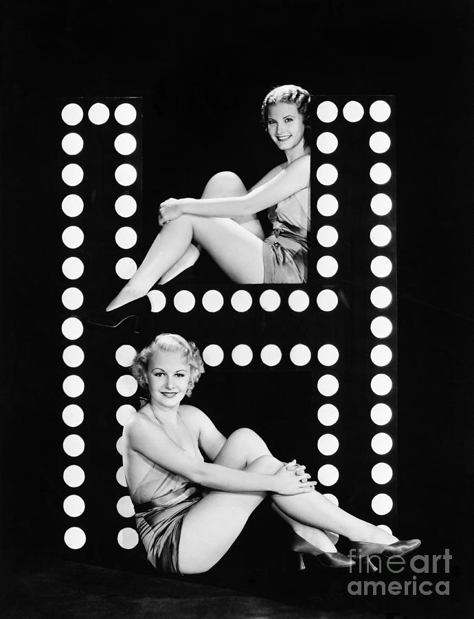 Two People Photograph - Two Young Women Posing With The Letter H by Everett Collection