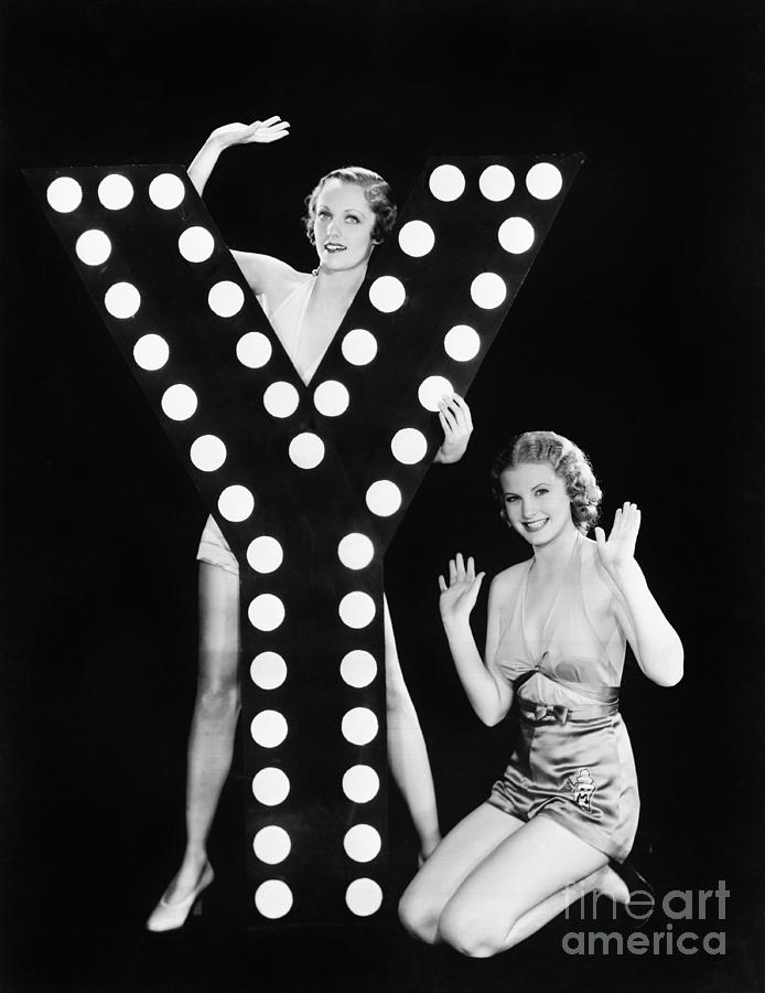 Two People Photograph - Two Young Women Posing With The Letter Y by Everett Collection