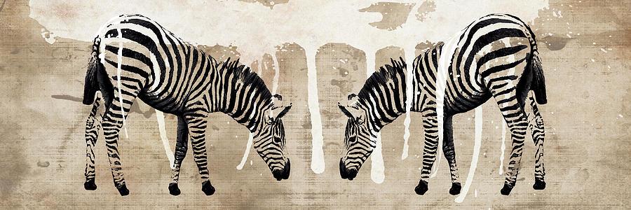 Animals Mixed Media - Two Zebras by Erin Clark