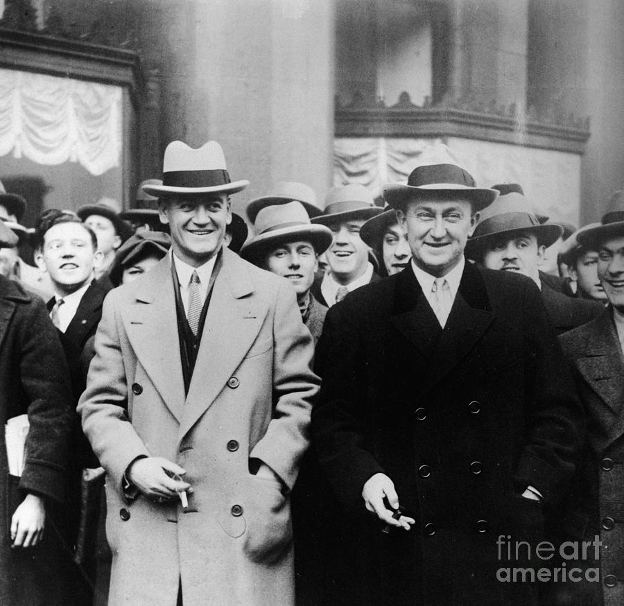 Ty Cobb & George Burns In Trench Coats Photograph by Bettmann