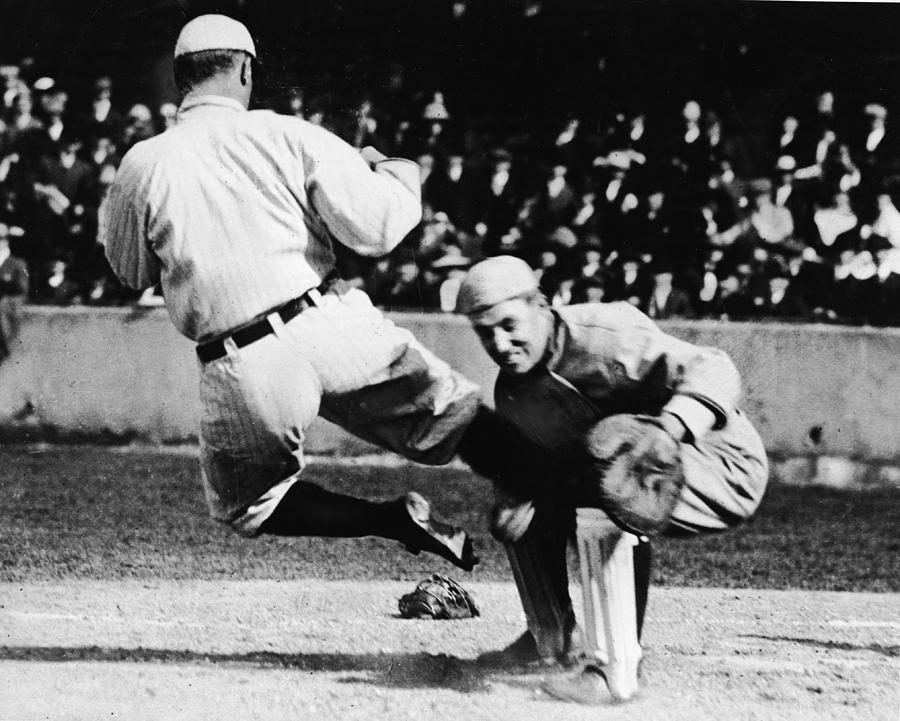 Ty Cobb Sliding Into Catcher Photograph by Pictorial Parade