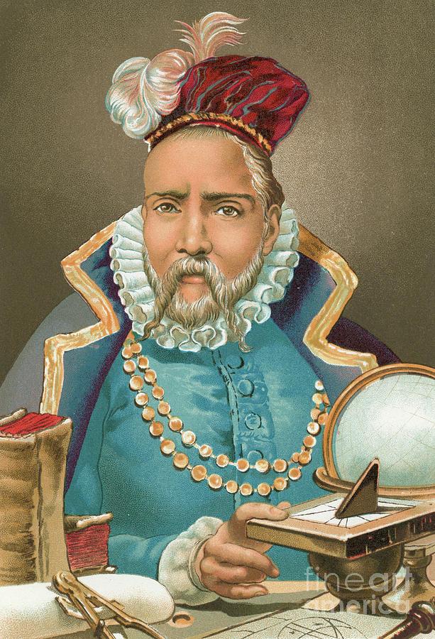 Hat Painting - Tycho Brahe Illustration by J Planella Coromina