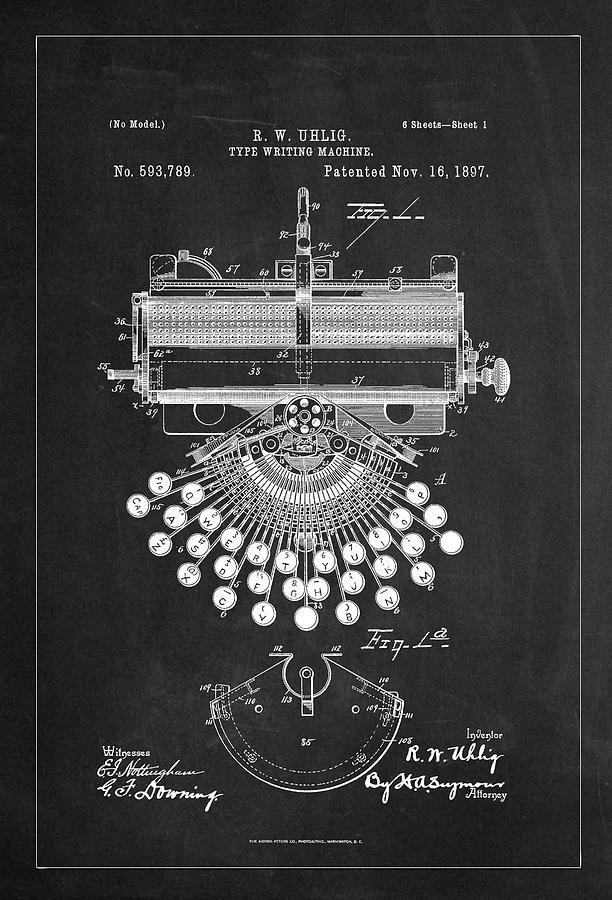 Type Writing Machine Patent Drawing From 1897 - Charcoal by Carlos Diaz