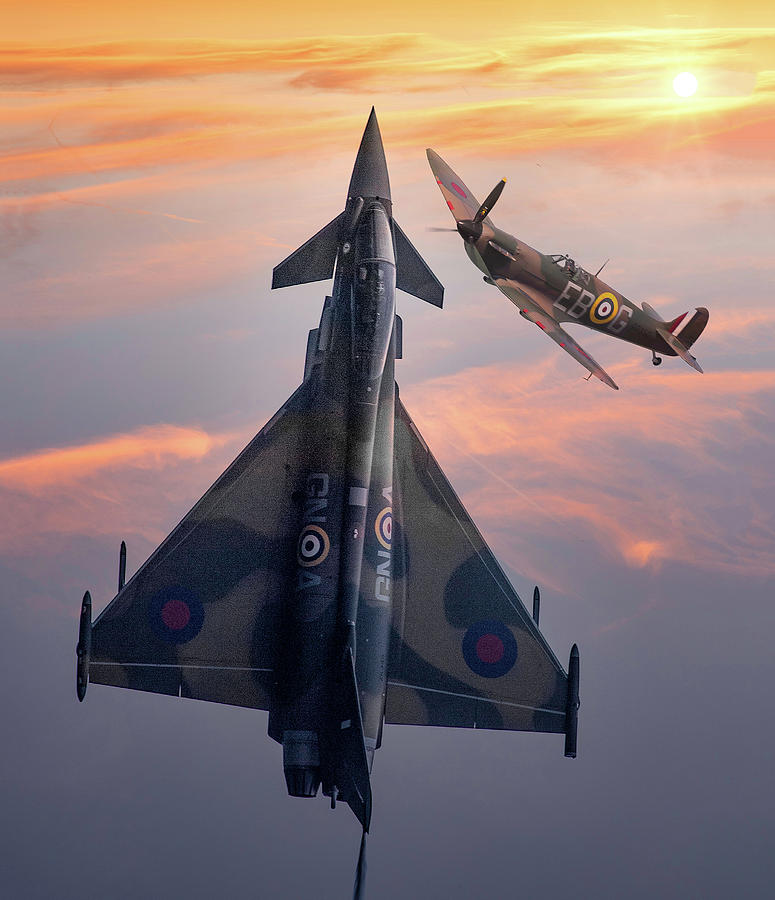 Eurofighter Mixed Media - Typhoon And Spitfire Synchro-pair Display Team by Smart Aviation