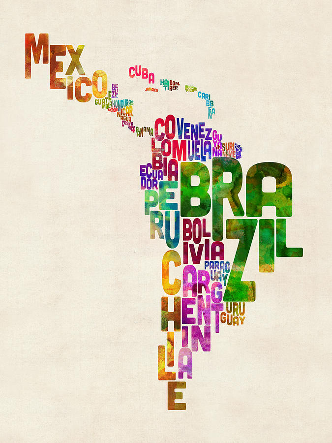 Typography Map Of Latin America Mexico Central And South