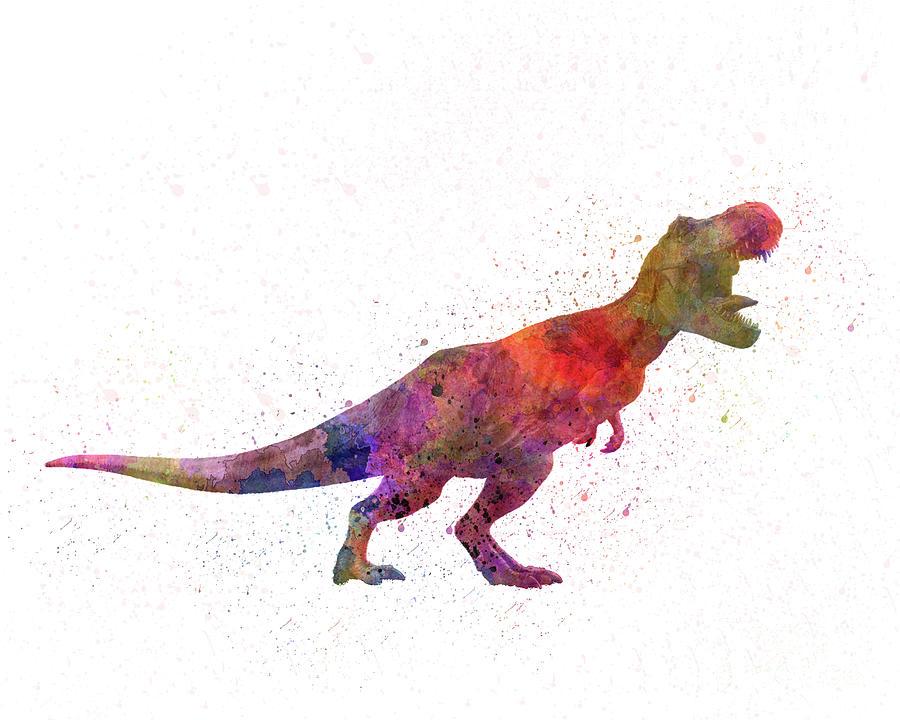 Tyrannosaurus rex dinosaur in watercolor by Pablo Romero