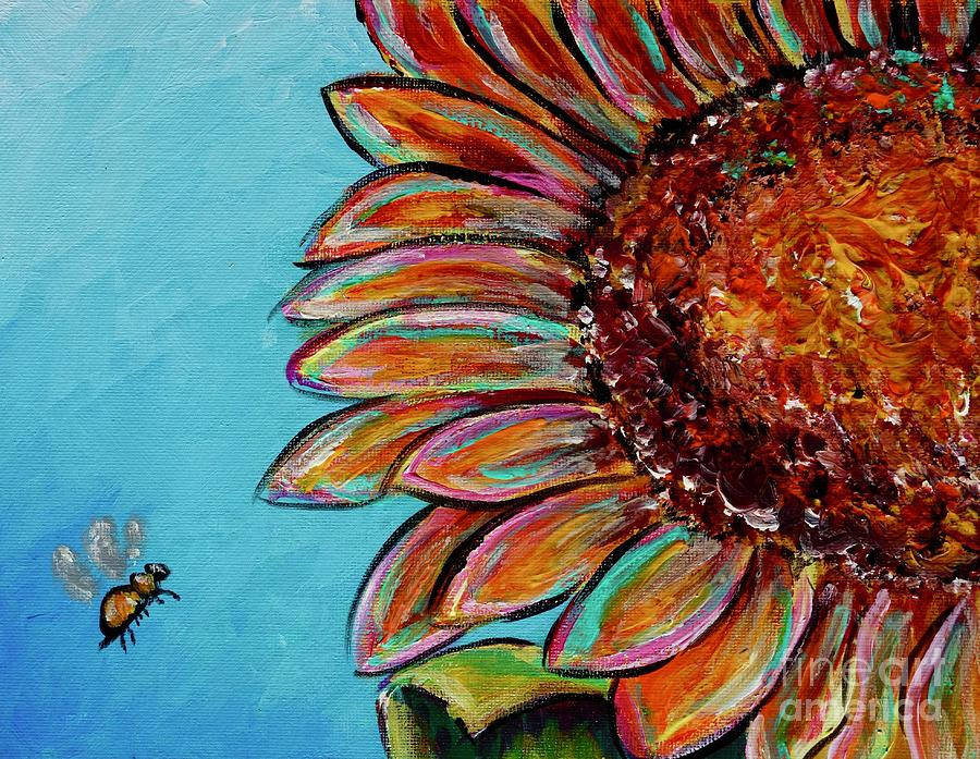 Sunflower With Bee by Jacqueline Athmann