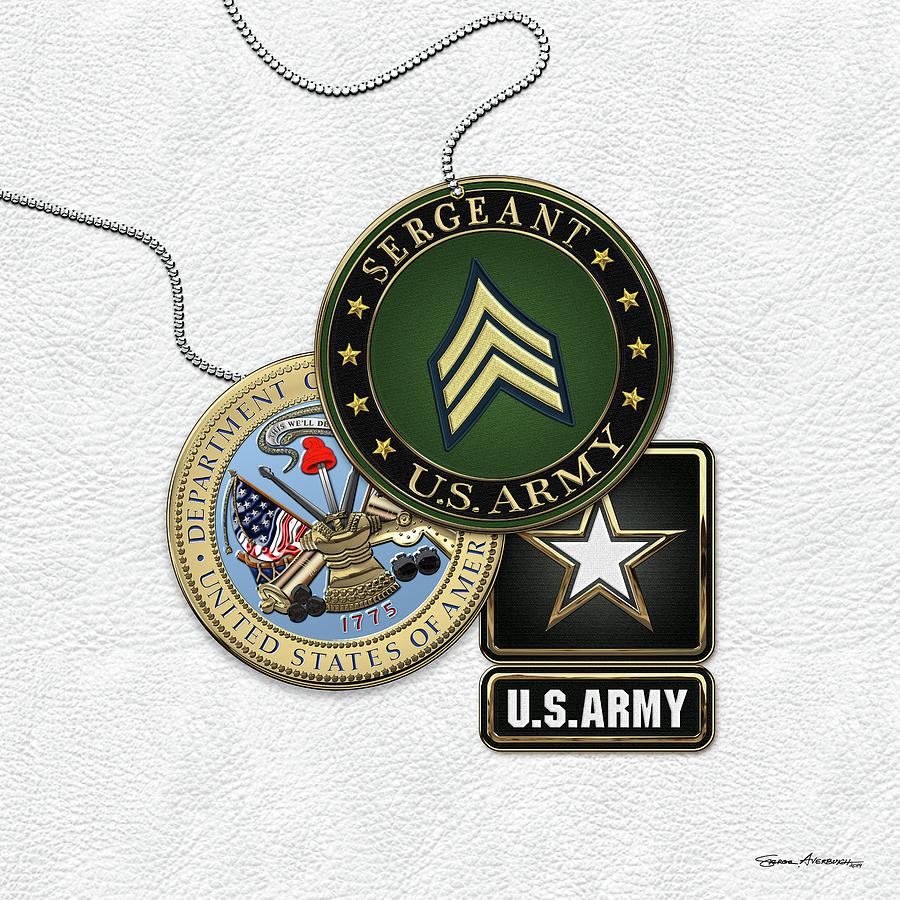 da35f7ec U. S. Army Sergeant - S G T Rank Insignia With Army Seal And Logo Over  White Leather. Introducing 'Military Insignia & Heraldry' collection by  Serge ...
