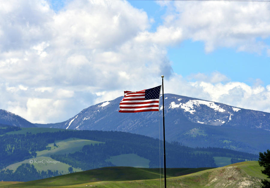 U. S. Flag with Mt. Powell behind by Kae Cheatham
